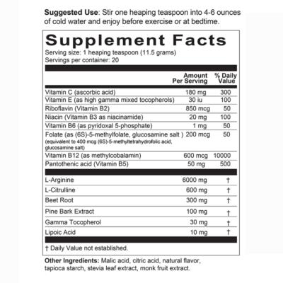 Arginine HGE Supplement Facts