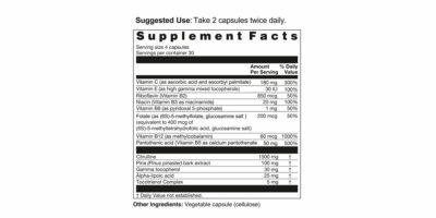 Citrulline Cofactors Supplement Facts