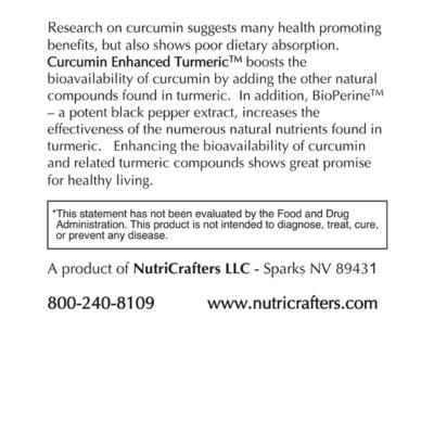 Curcumin Enhanced Turmeric Label Information