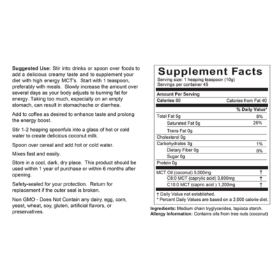 Easy MCT Supplement Facts