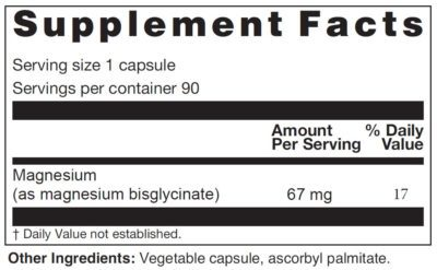 Magesium Glycinate Supplement Facts