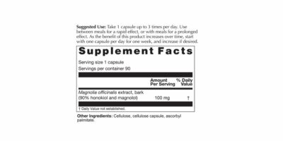 Magnolia Max Supplement Facts