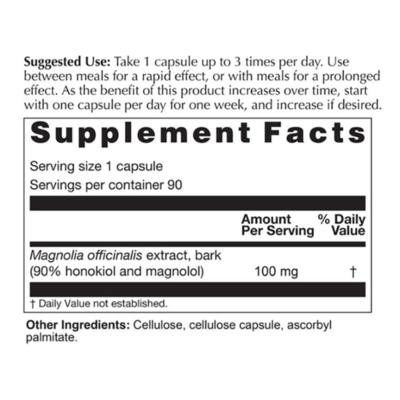 Magnolia Max Supplement Facts