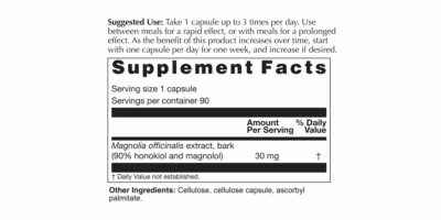 Magnolia Extract Supplement Facts