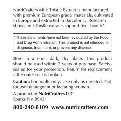 Milk Thistle Extract Label Information