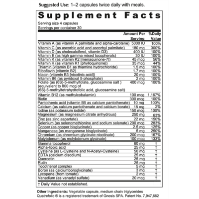 Protect Multi Supplement Facts Panel