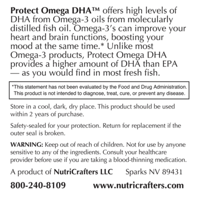 Protect Omega DHA Supplement Facts panel