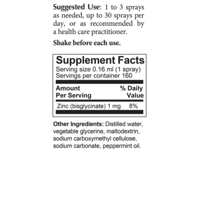 ZInc Protect Spray Supplement Facts